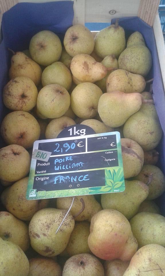 Poire William France 2.90€ le kilo