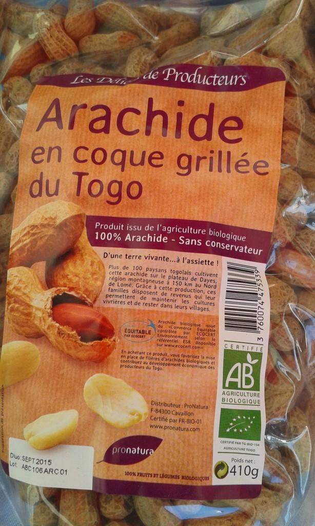 arachide coque grillée Togo sachet 410g : 5€