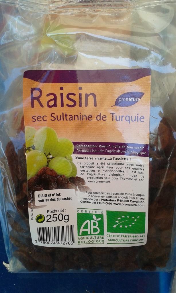 raisin sec sultanine turquie sachet 250g  3€